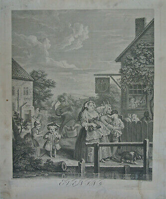 Unmounted William Hogarth Print 'Evening' Published 1738 Engraved By Baron • 60£