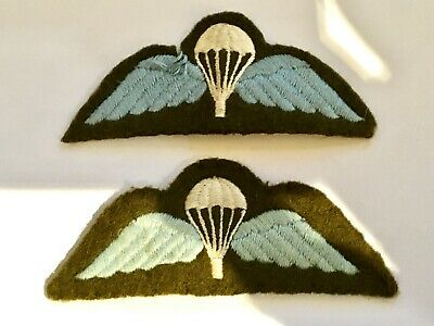 Ww2 Parachute Regiment Jump Wings Airborne Patches Blue Thread Green Wool Baise  • 4.99£