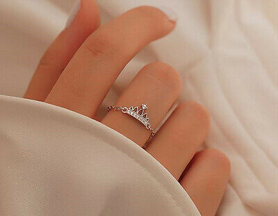 925 Sterling Silver Vintage Crown Chain Adjustable Ring Womens Jewellery Gift UK • 3.19£