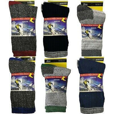 Mens Thick Heavy Duty Merino Wool Blend Socks Size 6-12 2 Pairs Included • 5.49£