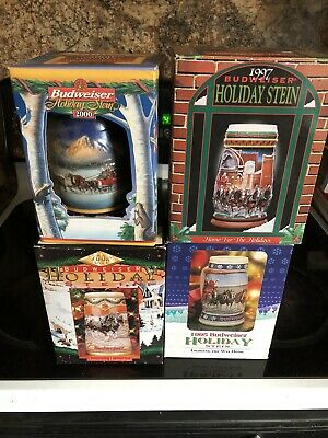 $ CDN27.50 • Buy Budweiser Stein Lot Of 4 With Boxes 1995,1996.2000.1997. All With Certicates