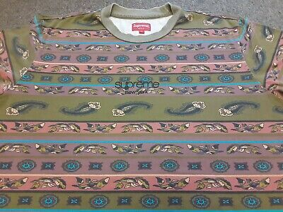$ CDN13.05 • Buy SS16 2016 Supreme Embroidered Paisley Stripe Long Sleeve Top T Shirt Green Large
