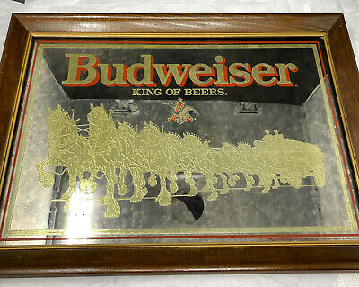 """$ CDN116.78 • Buy Vintage 70's 80's Budweiser King Of Beers Clydesdale Bar Mirror Sign 21"""" X 15"""""""