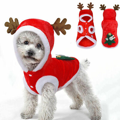 Pet Dog Cat Christmas Clothes Warm Deer Horn Hoodie Kitten Costume Outfits Xmas • 6.59£