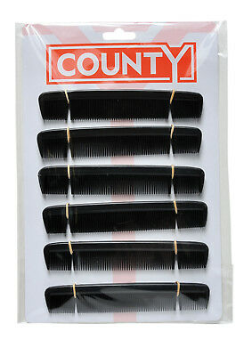County 6 Gents Mens Pocket Hair Combs Black Plastic 12 On A Card • 2.99£