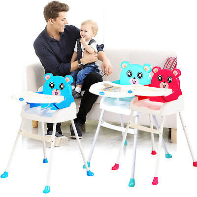 4 In 1 Foldable Baby High Chair Recline Highchair Height Adjustable Feeding Seat • 21.59£