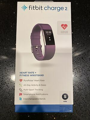 $ CDN79.15 • Buy New Fitbit Charge 2 Heart Rate Fitness Wristband Plum Small + Black Sport Band
