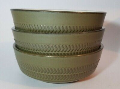 3 Denby Chevron Olive Green 5  Pudding Cereal Soup Bowls  • 22.50£