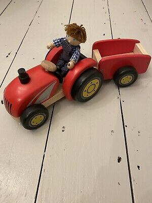 Pintoy Wooden Tractor With Trailer • 19£
