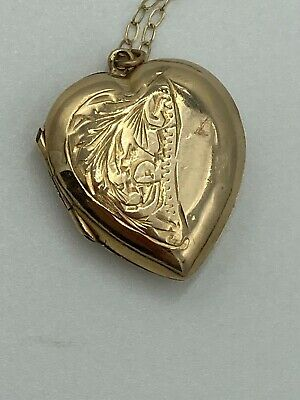 Vintage Heart Locket 9ct Gold Front And Back On Fine 9ct Gold Chain • 0.99£