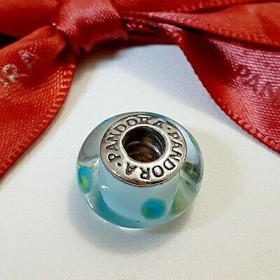 AU29.50 • Buy Genuine Authentic Pandora Teal Blue Green With Polka Dots Murano Charm - 790605