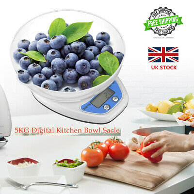5KG Digital Kitchen Scale LCD Electronic Cooking Food Weight Postal Scale + Bowl • 8.49£