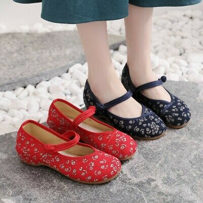 Women Embroidered Chinese Style Cloth Flats Shoes Comfort Floral Dance Shoes UK • 12.99£