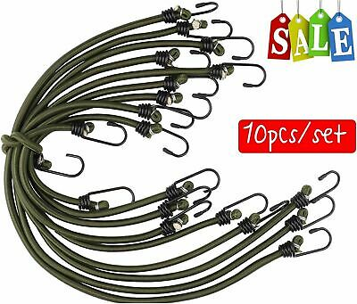 £7.99 • Buy 10 New Bungee Straps Cords Set With Hooks Elasticated Rope Cord Car Bike Luggage