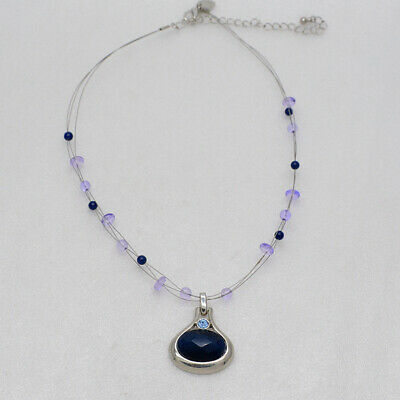 $ CDN9.69 • Buy Lia Sophia Jewelry Silver Tone Blue Beads Oval Pendant Necklace Chain For Women