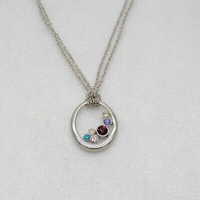 $ CDN9.69 • Buy Lia Sophia Signed Jewelry Silver Tone Colorful Cut Crystals Pendant Necklace