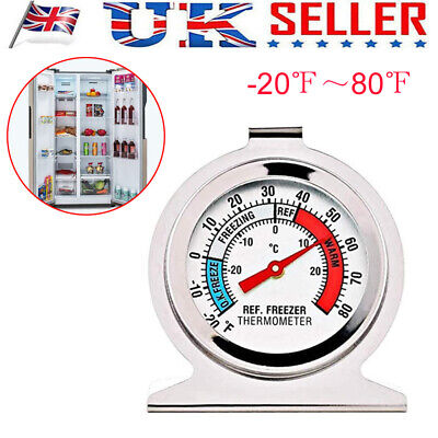 Stainless Steel Refrigerator Freezer Thermometer Dial Type Temperature Gauge NEW • 5.85£