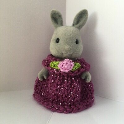 Sylvanian Families Clothes ~ Knitted Plum Sparkle Dress With Flower ~ Child • 1.89£