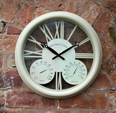 £18.95 • Buy  Outdoor Garden Station Wall Clock Thermometer & Humidity 38cm White Antique