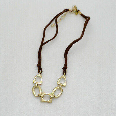 $ CDN9.15 • Buy Lia Sophia Jewelry Gold Tone Leather Chain Simple Textured Necklace For Women