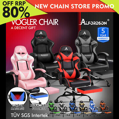 AU179.79 • Buy ALFORDSON Gaming Chair Office Executive Racing Footrest Seat PU Leather VOGLER