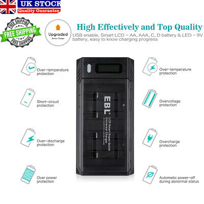 EBL LCD Smart Charger For 9V Ni-MH Ni-CD/ AA/AAA/SC/C/D Rechargeable Batteries • 15.59£