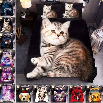 AU61.95 • Buy 3D Cat & Dog Xmas Present Doona Duvet Cover Set Single Queen Super King Size AU