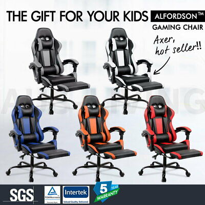 AU159.79 • Buy ALFORDSON Gaming Chair Racing Office Executive Footrest Computer Seat PU Leather