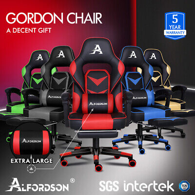 AU169.79 • Buy ALFORDSON Gaming Chair Office Seat Generous Padding Footrest Executive Racing