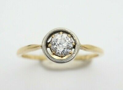 *Vintage Art Deco 18Ct Gold Solitaire White Sapphire Engagement Ring, Size N1/2 • 165£