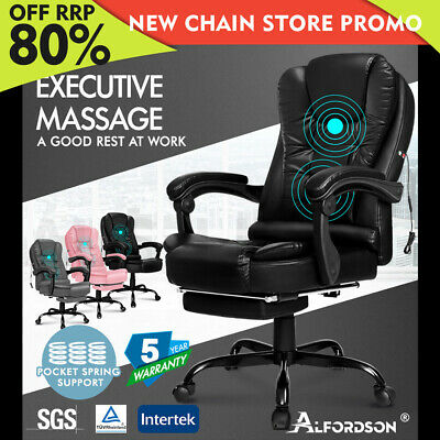AU159.80 • Buy ALFORDSON Massage Office Chair Executive Gaming Racing Seat PU Leather Footrest