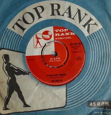 Rare & Excellent~the Crests~a Year Ago Tonight~1960 Top Rank Uk 45~doo Wop Rock • 9£