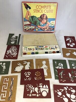 Vintage Complete Stencil Outfit 1940's Children's Game Crafts By Spears   C17 • 8.20£