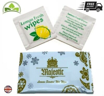 Wet Hand Wipes Disposable Individual Wrapped Lemon Fresh Hot | Cold Small-Large • 2.99£