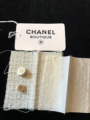 2 Chanel Buttons With A Genuine Fabric Sample • 15£