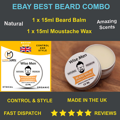 Men Moustache Wax Beard Balm Set Combo 15ml | Beard Growth Kit | Natural | UK  • 4.89£