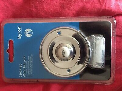 Round Chrome Door Bell Push Byron 2207P1BC Wired Circular White Press Button • 3.30£