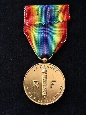 French Ww2 Victory Medal - Medal Of Liberated France - Gilt Finish 1947 Replica • 3.99£