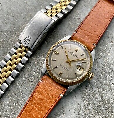 $ CDN5395 • Buy 1971 Rolex 36mm Datejust Gold + Stainless Two Tone - Spectacular Linen Dial