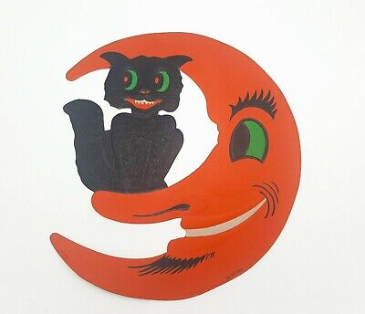 $ CDN63.58 • Buy Vintage Black Cat On Moon Carboard Halloween H. E. Luhrs Diecut Embossed 1950s