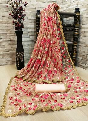 Net Embroidery Work Saree Indian Designer Wedding Bridal Party Wear New Sari VL • 26.99£
