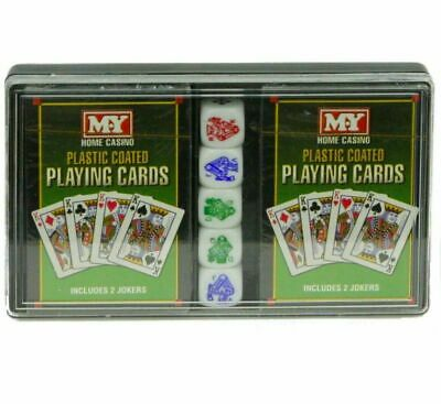 Home Casino Pack 2 Decks Of Playing Cards (inc Jokers) & 5 Poker Dice Plus Case • 2.89£