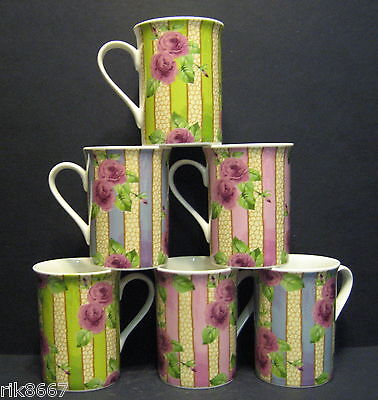 £16.95 • Buy 6 A Set Of Six Data Romantic Spring Fine Bone China Mugs Cups Beakers To Clear