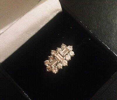 Solid 9ct Yellow GOLD CZ Beautiful ART DECO Ring Size N Fully Hallmarked • 79.99£