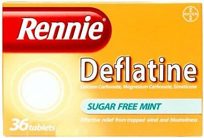 Rennie Deflatine Trapped Wind & Bloatedness Relief Sugar-Free Mint - 36 Tablets • 7.45£