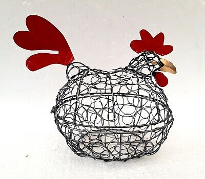 Unusual Wire Chicken Egg Basket Hen Egg Holder Storage Chicken Basket • 19.99£