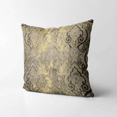 Wk201a Tan Gold Brown Damask Chenille Flower Throw Cushion Cover/Pillow Case • 24.06£