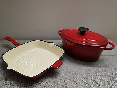 Cast Iron Red Cooking Pot & Griddle Pan • 5£
