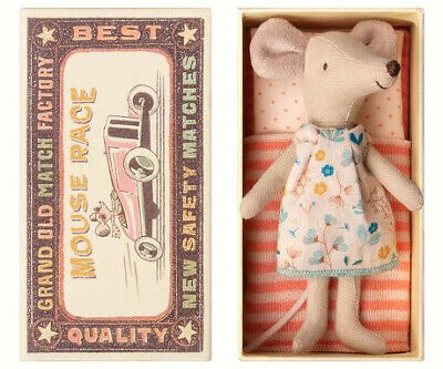 Maileg Mice Big Sister Mouse In Floral Dress In Matchbox - BRAND NEW • 18.50£
