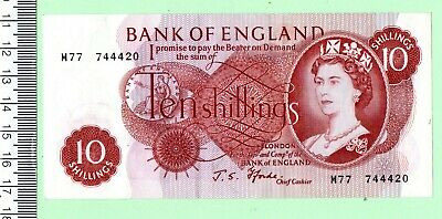 1967 J. S. Fforde Replacement Red/brown Portrait Ten Shilling Note • 20£